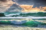 Ocean, splashing, waves, foam, sky, clouds, nature