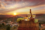 Summer wine in sunset