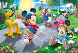 Roller Blading with Mickey Minnie Donald Daisy Goofy and Pluto