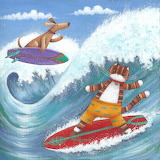 dog and cat on surfboard