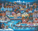 Hockey village folk art