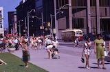 TORONTO, CANADA, 1970'S, QUEEN STREET WEST AT BAY