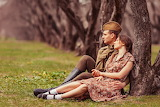 Girl, retro, soldier, guy, man, lovers, tunic, park, sitting, mi