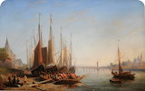 A German River Scene by John Wilson Carmichael