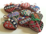 ^ Needlepoint heart Christmas ornaments