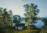 View of the Large Pond in the Park in Tsarskoye Selo