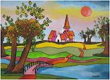 ^ Kleurrijk dorp met knotwilgen ~ Nadia de Bruin