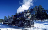 The Grand Canyon Steam Locomotive in Winter USA