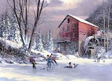 Winter-mill-frozen river-children-hokey-play-painting-Joy art-Ji