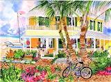 Yellow Beach House by Eileen Seitz