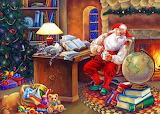 Colours-colorful-Santa-Claus-Christmas-painting-Elaine Maier