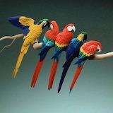 paper sculpture parrots