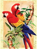 Bamboo Parrots Painting