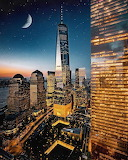 Moonlight above One World Trade Center