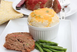 ^ Meatloaf with Cheesy Twice-Baked Potatoes & Buttered Green Bea