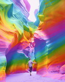 New Yorl artist painting with rainbow colors