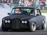 HA! HA! Smoking the tyres in the Rolls.