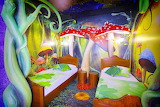 Children themed hotel, interior, bedroom, enchanted forest decor
