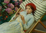 Harold Harvey, Girl with a red hat, 1916