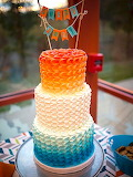 Colorful ombre cake