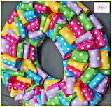 Colorful ribbon wreath