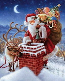 SANTA ON TOP OF ROOF WITH TOYS