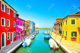 29280688-Venice-landmark-Burano-island-canal-colorful-houses-and