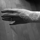 Techlace-antique lace handkerchief as cuff