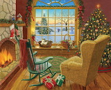 Cozy Christmas Cat by Ruth Sanderson...