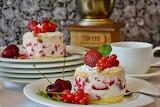 ^ Strawberry and cherry dessert