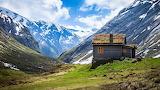 Alpine shack landscape