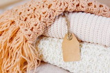 Knitted beige throw