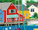 Colorful houses in front of the harbor-painting-artist-wilfrido