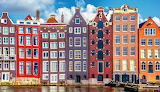 Color amsterdam gabled houses
