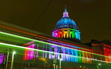 San Fransisco City Hall with rainbow lights for Pride