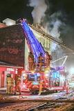 Ladder truck battling fire