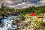 Norway River Red Cottage