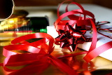 Red christmas ribbons with packages