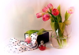 Perfume bottle, tulips, box, silk, flowers, vase, still life