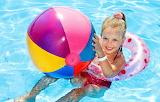 Summer, joy, smile, ball, child, pool, girl, beautiful,