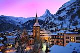 Village Zermatt Swiss Alps Cloked in Winter Attire