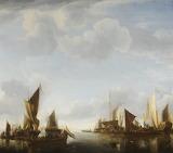 River Scene with Ships by Jan van der Cappelle