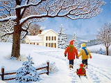 Winter scene-painting-John Sloane
