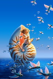 Girl in a Nautilus shell and Flying Fish