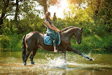 Girl, horse, grass, water, trees, squirt, nature, jeans, rider,