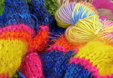 Colored wool, knitting