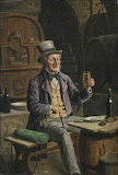 Botanist with his vasculum having a drink in the beer cellar by