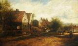 A village scene with figures by Frederick William Watts