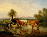 Landscape with Cattle Watering by Karl Cartie
