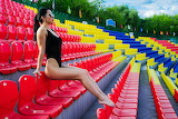 Stadium, seats, sun, trees, girl, sitting, tribune, color